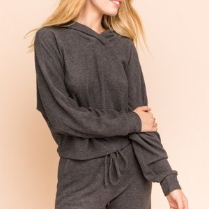Boxy Hooded Brushed Knit Top